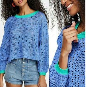 NWT Free People Home Run Crop Crochet Sweater S